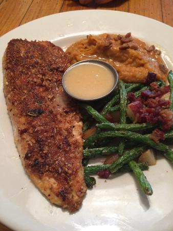 Rockfish Seafood Grill: Pecan crusted trout. Every bit as good as it looks, with mashed sweet potatoes and green beans.