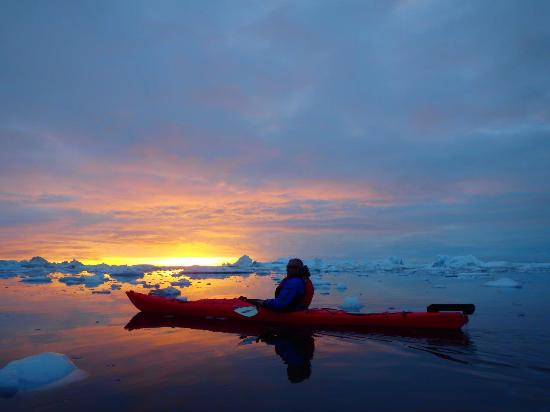 Sunset Kayaking In Disko Bay Off Coast Of Ilulissat