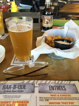 My spotted cow and cheese curds picture of motor bar for Motor bar and restaurant