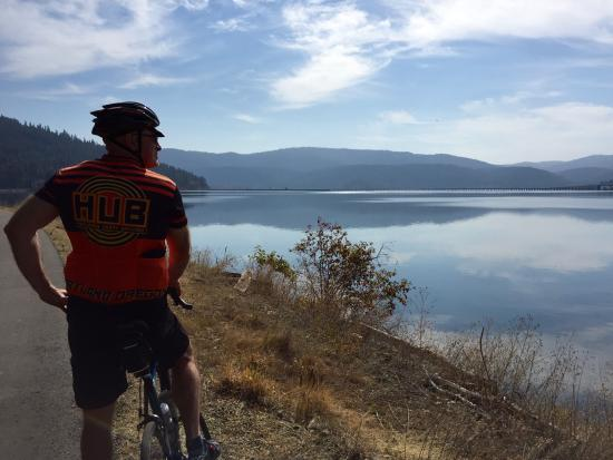 Plummer, ID: West of Harrison looking toward the bike bridge across the lake