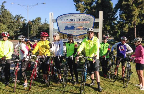 Flying Flags RV Resort & Campground: Channel Islands Bike Club ready to start their ride in the Santa Ynez Valley