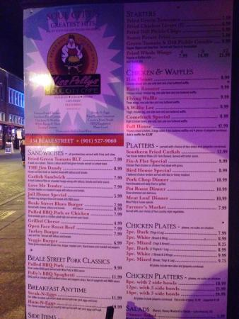 Miss Polly S Soul City Cafe Menu