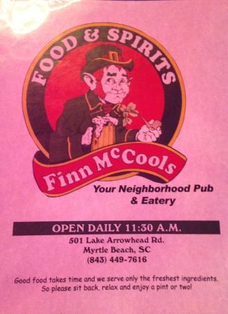 Finn Mccools Myrtle Beach Breakfast Menu