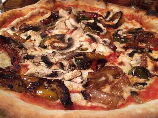 The Hearth: Delicious vegan pizza w/ loads of veggies and homemade cashew cheese :