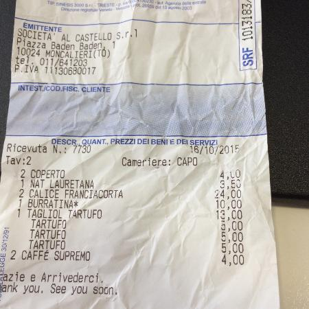 Moncalieri, Italy: 2 calici di Franciacorta a 24 euro........