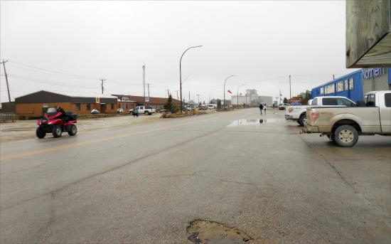 Bear Country Inn: It's the last building on the left.  Background: grain elevators. Shows half of Churchill's main