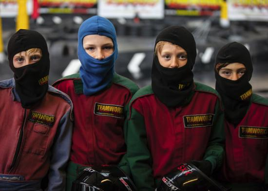 Teamworks Karting Letchworth: Boys hooded up and ready to go