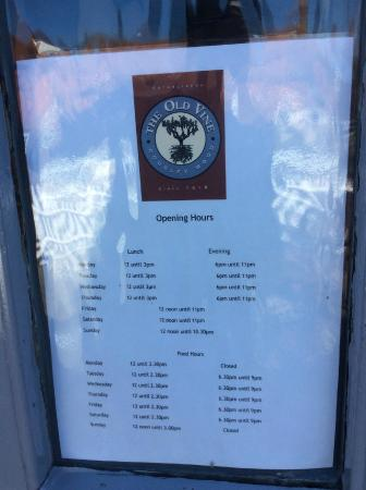The Old Vine: Opening Times