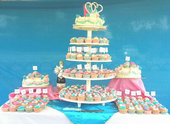 Sky Blue and Soft Pink Theme Cupcake Wedding Cake - Picture of The ...