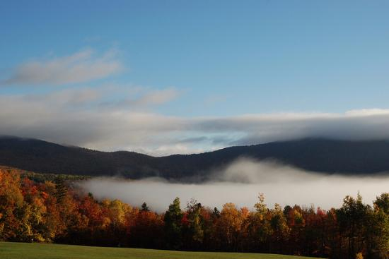 Chittenden, VT: Fogged in lake - View from back of the resort