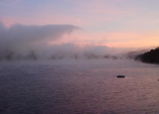 Fairlee, VT: misty morning sunrise on Lake Morey