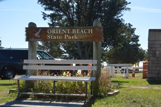 Orient Beach State Park: sign by park