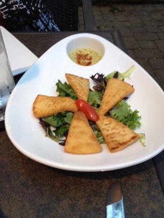 Fried Pita with Cilantro Hummus - on the house