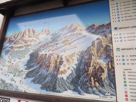 The Skiing map Picture of Ski Area Faloria Cristallo Mietres
