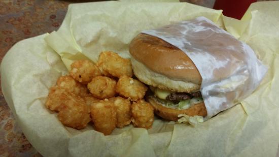Rockdale, TX: mushroom swiss burger with tater tots