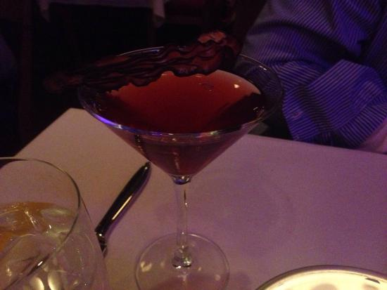 Edge Restaurant: Choco Cherry Manhattan with a piece of chocolate covered bacon on top