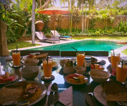 The Ahimsa: In villa served breakfast overlooking stunning pool