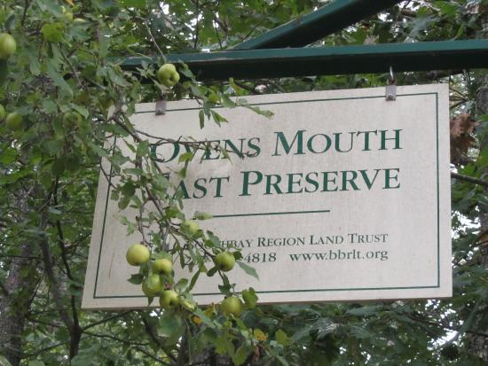 Oven's Mouth Preserve: Parking lot Sign