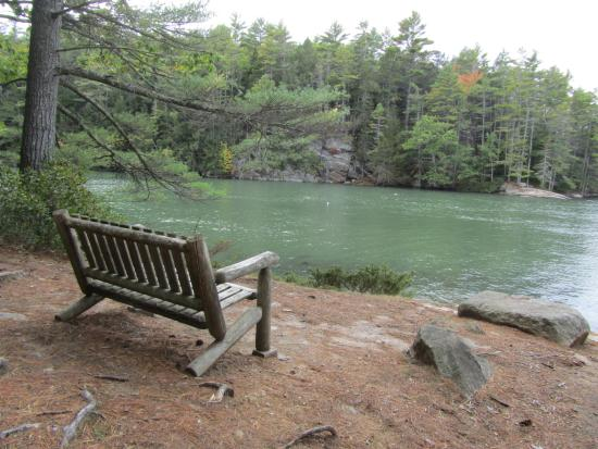 Oven's Mouth Preserve: A bench overlooking the Back river