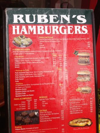 Ruben's Hamburgers: メニュー