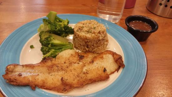 Pan grilled fish with butter rice and broccoli! - Picture of