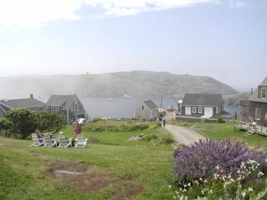 Monhegan Island, ME: View of the wharf from The Island Inn