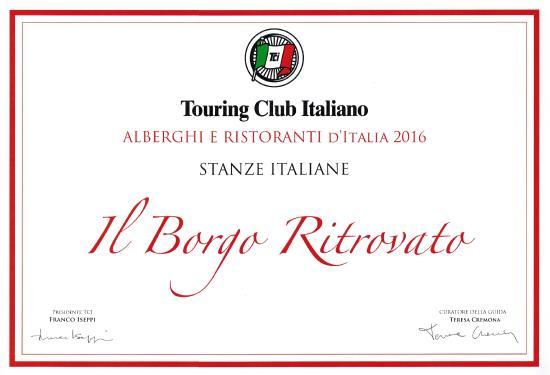 Attestato di riconoscimento TCI - Foto di Il Borgo Ritrovato ...