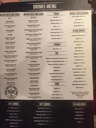 The Fish and Chip Kitchen: drinks menu