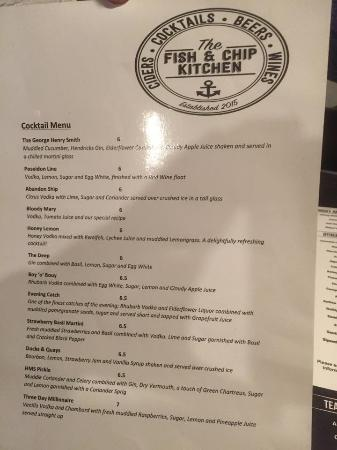 The Fish and Chip Kitchen: cocktail menu