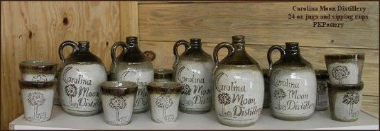 PK Pottery and Carolina Moon Distillery custom pots and jugs