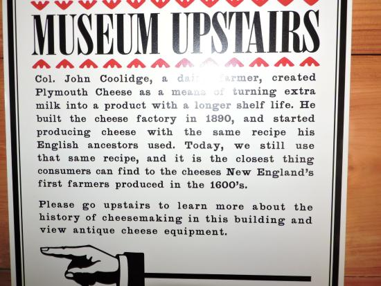 Plymouth, VT: cheese factory museum sign