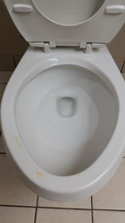 Kahler Apache : Urine on the toilet rim and other junk