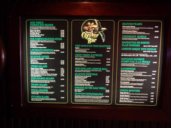 John A's Oyster Bar : Menu