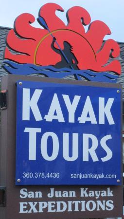 San Juan Kayak Expeditions - Day Tours : Sign in front of San Juan Kayak Expeditions, San Juan Island