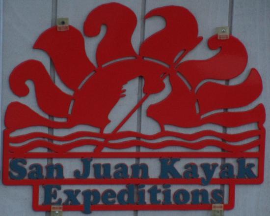San Juan Kayak Expeditions - Day Tours : Sign on building, San Juan Kayak Expeditions, San Juan Island