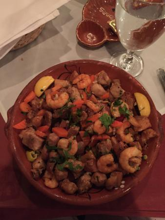 North Plainfield, NJ: Picadinho ... Traditional dish of pork cubes with shrimp & golden-fried potatoes