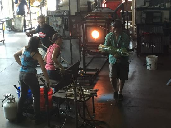 Glassworks: Visiting glass artist Alexis Silk finished creating a sculpture from scratch