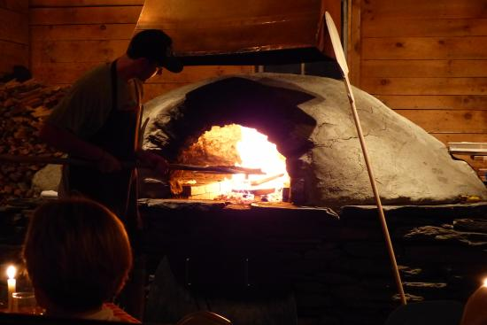 Pizza Oven at American Flatbread in Waitsfield, VT.