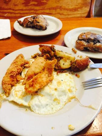 Edie's Express: Breakfast platter with fried chicken and blueberry biscuit.