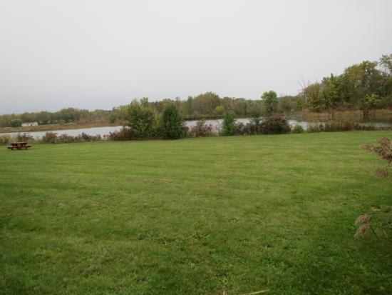 Super 8 by Wyndham Canandaigua: The lawn behind the hotel