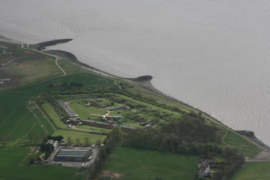 Fort Paull: An aerial view from an earlier helicopter flight.