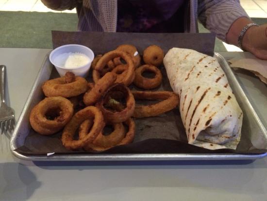 Big Chris BBQ Smokehouse : Brisket Burrito & Onion Rings
