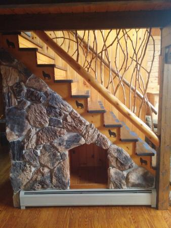 Jackman, ME: Cabin - Stairs to the upper floor, beautiful woodwork