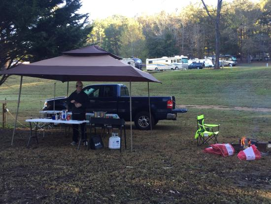 Lots of space. Our site was open to the campground on one side with the creek and woods on the o