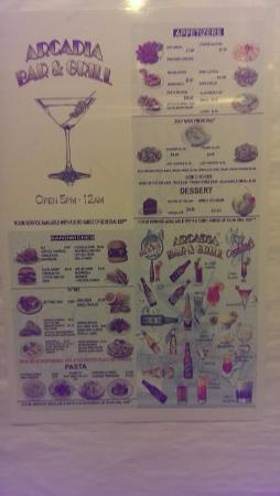 Prospect Heights, Илинойс: Menu of the onsite restaurant in the elevator