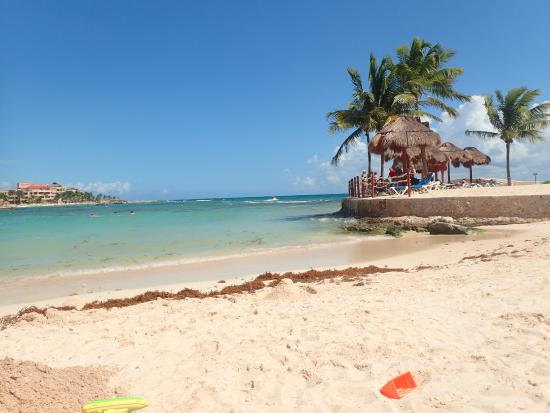Dreams Puerto Aventuras Resort Spa Beach With Small Amount Of Seaweed