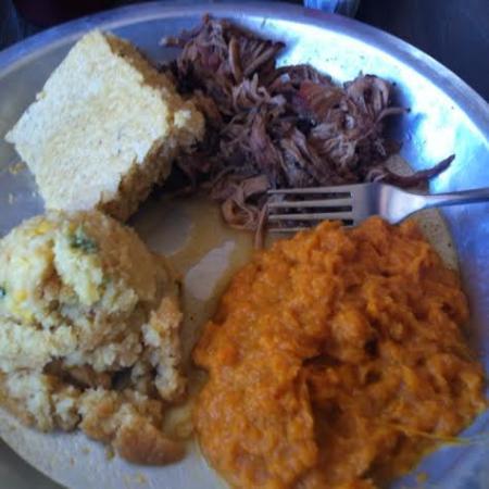 12 Bones Smokehouse River: BBQ, Sweet Potato Casserole, Corn Pudding, Cornbread