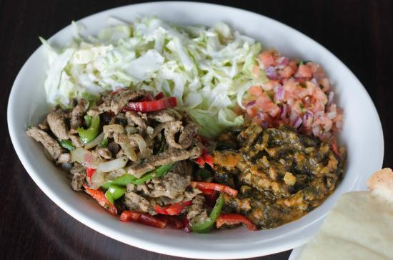 Muufo Platter Beef Suqaar Spinach Mix Salad Served With Muufo Picture Of Xawaash Toronto Tripadvisor
