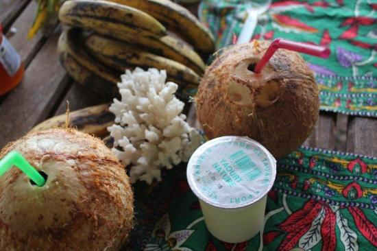 Efate, Vanuatu: coconuts yogurt and tropical fruit breakfast