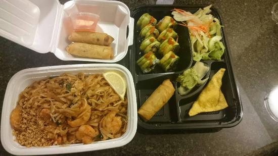 Bento Asian Bistro: Pad Thai Noodles and Dragon Roll Bento Box
